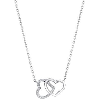 ネックレス レディース オープンハート ネックレス シルバー 925純銀製 ネックレス AAAジルコニア採用 金属アレルギー対応 誕生日 母の日 女性