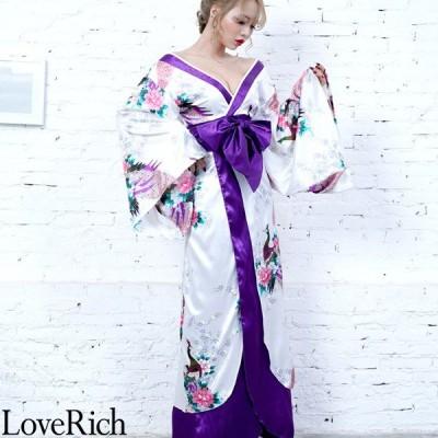 Love Rich 孔雀和柄ロング着物ドレス 和柄 花魁 キャバドレス ホワイト コスプレ セクシー 花魁 着物 浴衣 キャバ ギャル ナイトドレス コスチューム