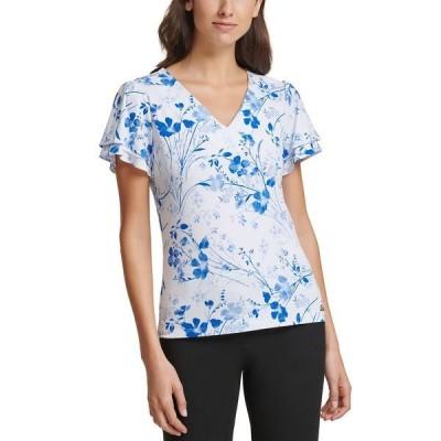 カルバンクライン カットソー トップス レディース Floral-Print Tiered-Sleeve Top White Multi