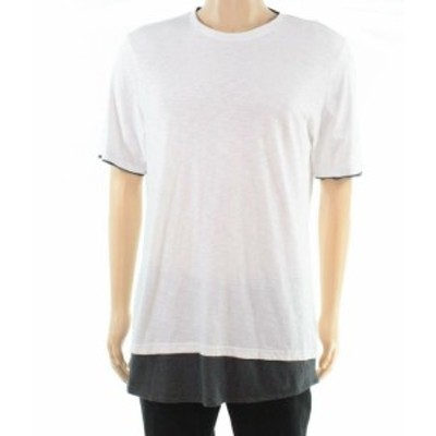 look ルック ファッション トップス INC White Mens Size 3XL Big & Tall Layered Look Crew Tee T-Shirt