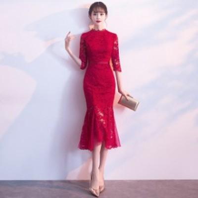 マーメイドドレス ワイン赤 レースドレス ミモレ丈 結婚式ドレス 二次会ドレス お呼ばれドレス ゲストドレス 総レース 緑 パーティードレ