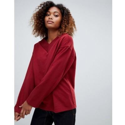 ウィークデイ Weekday レディース スウェット・トレーナー トップス V-neck sweatshirt in dark red Red dark