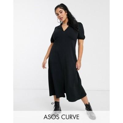 エイソス レディース ワンピース トップス ASOS DESIGN Curve ultimate midi tea dress with collar in black