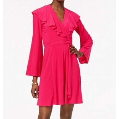 taylor テイラー ファッション ドレス Taylor NEW Pink Fuschia Ruffled Womens Size 10 V-Neck Wrap Dress