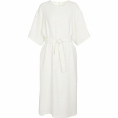 メゾン マルジェラ MM6 Maison Margiela レディース ワンピース ミドル丈 ワンピース・ドレス Belted midi dress Off White