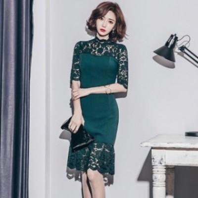 韓國 パーティードレス レース ドレス ワンピース ハイネック シースルー 半袖 ミディ丈 大きいサイズ 2L お呼ばれ 結婚式