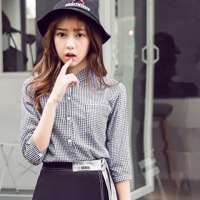 チェックシャツ スタンドカラー レディース スカート 七分袖 チェック柄 立ち襟 ギンガムチェック fsk0447