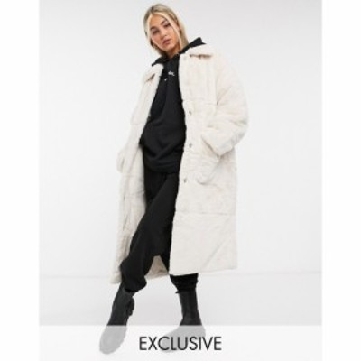 コルージョン Collusion レディース コート ファーコート ロングコート アウター Longline Faux Fur Coat In Off White ホワイト