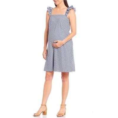 アレックスマリー レディース ワンピース トップス Blair Maternity Square Neck Sleeveless Gingham Dress