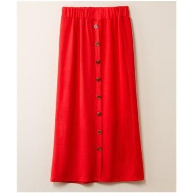 スカート ロング丈 マキシ丈 大きいサイズ レディース ボタン使いスリット  3L ニッセン