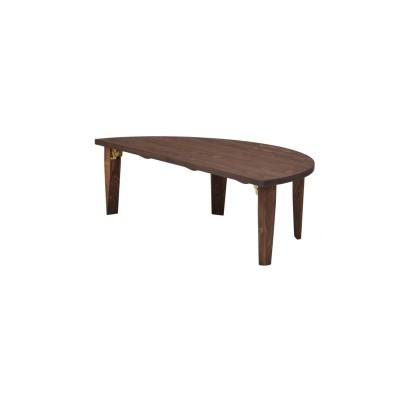 【受注生産】国産ひのきの折れ脚半円リビングテーブル(幅120cm)