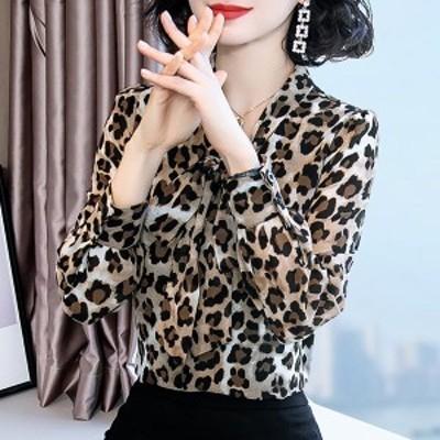 ブラウス レディース 長袖 40代 20代 オフィス 春秋 おしゃれ 韓国風 トップス シフォンシャツ Vネック きれいめ 大きいサイズ カジュア