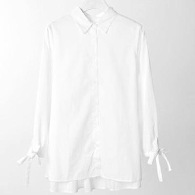 春新作トップスレディース シャツブラウス 長袖シャツ ロングシャツブラウス ブラウス 白 コットンシャツ コットンブラウス コットン100