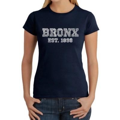 エルエーポップアート Tシャツ トップス レディース Word Art T Shirt &ndash Popular Neighborhoods in Bronx, NY Navy