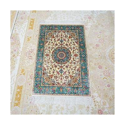 Yilong Carpet 2x3ft Small Handmade Silk Persian Rug Luxury Medallion Qum Carpet Mat (Blue&Ivory)(並行輸入品)