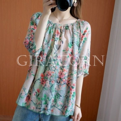Tシャツトップス五分袖ゆったりリラックス花柄絞りリボンナチュラルベージュ休日美人おしゃれリラックスファッション小物旅行ママ[oe4]
