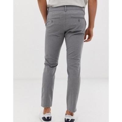 オンリーアンドサンズ メンズ カジュアルパンツ ボトムス Only & Sons slim tapered fit pants in gray MEDIUM GREY MELANGE