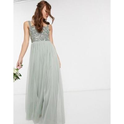 マヤ レディース ワンピース トップス Maya Bridesmaid sleeveless square neck maxi tulle dress with tonal delicate sequin overlay in sage green