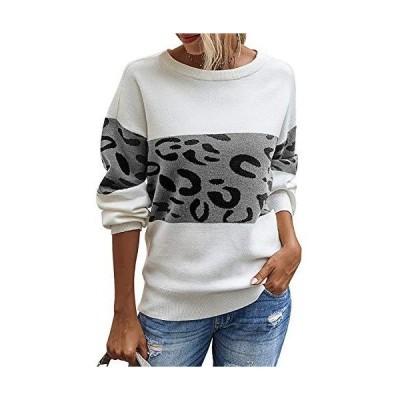 Womens Leopard Color Block Sweater Crewneck Casual Long Sleeve Loose Knit P