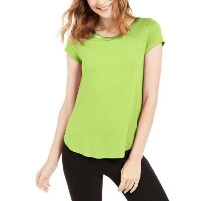 アルファニ カットソー トップス レディース Satin-Trim High-Low T-Shirt, Created for Macy's Lime Peel