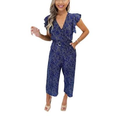 アックスパリ レディース ワンピース トップス Women's Printed Wrap Jumpsuit
