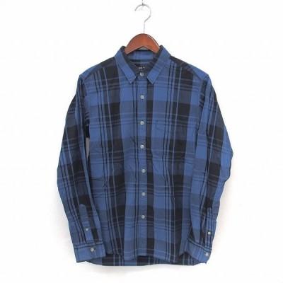 【中古】ビームスハート BEAMS HEART シャツ ステンカラー チェック 長袖 胸ポケット S ブルー /ST13 メンズ 【ベクトル 古着】