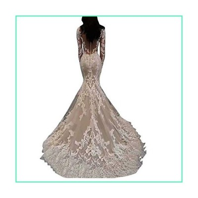 Women's Sexy Long Sleeves Lace Mermaid Bridal Gown 2020 Illusion Backless Princess Plus Size Wedding Dress White並行輸入品
