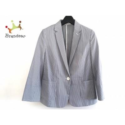 プラステ PLS+T(PLST) ジャケット サイズS レディース - ネイビー×白 長袖/ストライプ/春/秋 新着 20210130