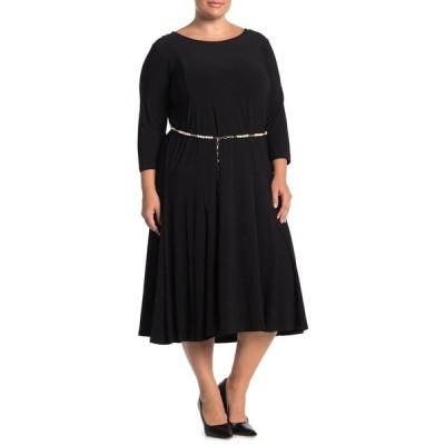ニナレオナルド レディース ワンピース トップス 3/4 Sleeve Pearl Waist Dress BLACK