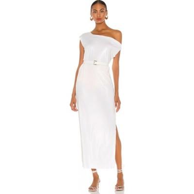 ノーマ カマリ Norma Kamali レディース パーティードレス ドロップショルダー ワンピース・ドレス Drop Shoulder Gown White