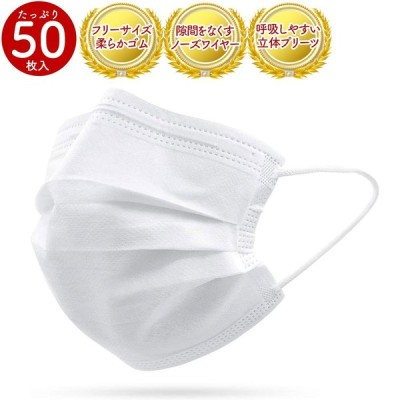 (在庫あり、即日発送)マスク  50枚 白色 使い捨て 不織布 ウィルス対策  レギュラーサイズ マスクケース
