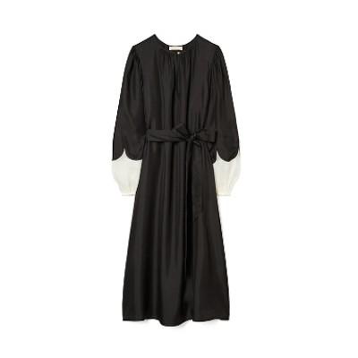 スカラップスリーブ シルク ドレス