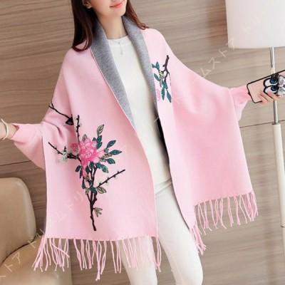 マフラー 大判 ストール レディース フラワー 花柄 ショール カーディガン ポンチョ風 厚手 ふんわり 柔らかい 秋 冬 暖かい 袖付き ニットコート アウター