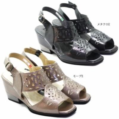NINE DI NINE 113-44 レディース サンダル ハイヒール ストラップ バックベルト パール調 軽量 日本製 天然皮革 女性 婦人