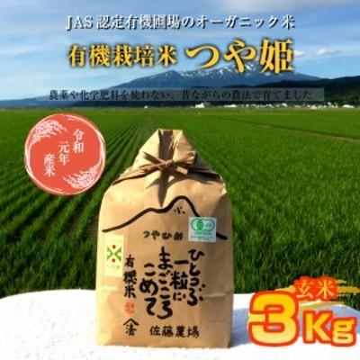 SA0683 令和2年産 【有機栽培米】つや姫 3kg玄米 YU