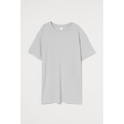 H&M - リブジャージーTシャツ - グレー