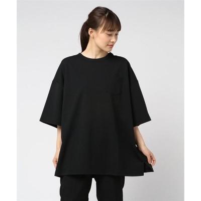 tシャツ Tシャツ 【Bl】梨地 ビッグシルエット半袖Tシャツ