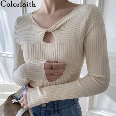 海外輸入アパレル Colorfaith New 2020 Autumn Winter Women Sweater V-Neck Knitted Mul