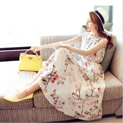 花柄マキシ丈ワンピースドレス ロング丈 ゆったり かわいい 花柄ワンピース 韓国ファション ノースリーブ 春夏 シフォンワンピース 着痩せ トレンド