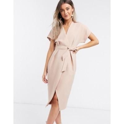 クローゼットロンドン レディース ワンピース トップス Closet London wrap tie midi dress in blush