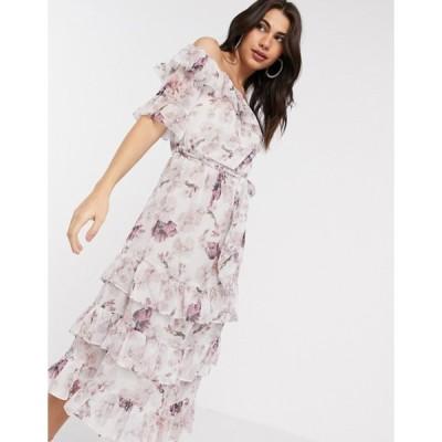 リバーアイランド レディース ワンピース トップス River Island floral detail bardot ruffle maxi dress in pink