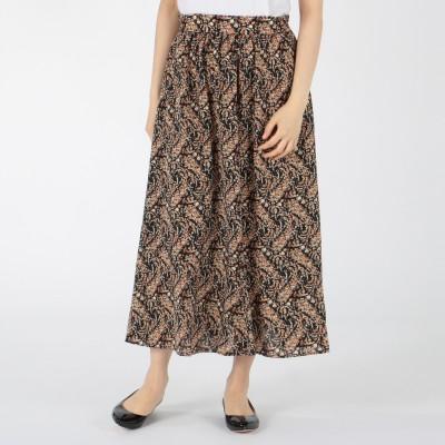 MELROSE CLAIRE(メルローズ クレール)/【WEB限定】ペイズリー調フラワープリント切り替えフレアスカート