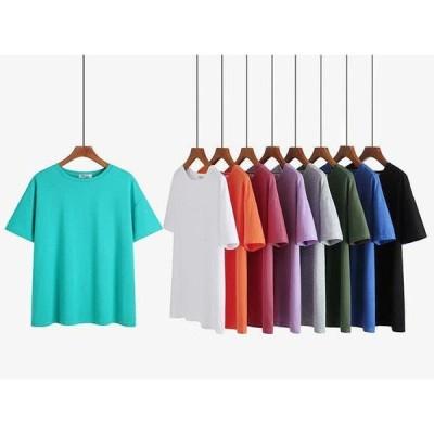 Tシャツ レディース 半袖 トップス ゆるTシャツ 丸首 大きいサイズ プルオーバー カジュアル 着痩せ 上着 夏新作 可愛い 体型カバー ルームウェア 2021