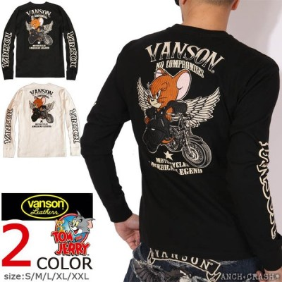 バンソン VANSON トムとジェリー コラボ ロンT TJV-2002 TOM AND JERRY 刺繍  長袖Tシャツ