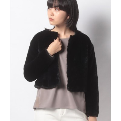 【ミス ジェイ】 エコファー ショートジャケット レディース ブラック 38 MISS J