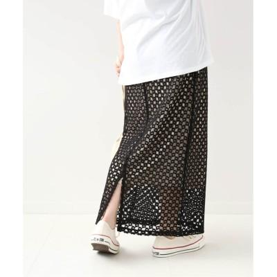レディース ベーセーストック メッシュレース編みスカート◆ ブラック フリー