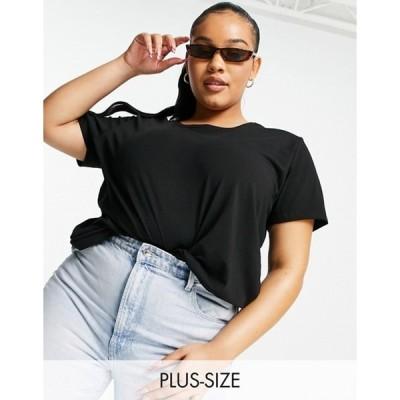 オンリーカーブ レディース シャツ トップス Only Curve t-shirt in black