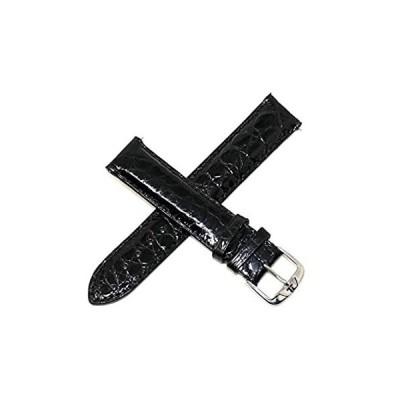 Jacques Lemans 19mm 本革 ワニ革 腕時計ベルト 光沢ブラック シルバー JL イニシャル ステンレススチール バックル