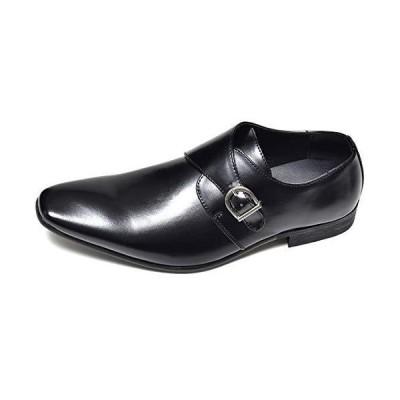 [ルシウス] ブラック 46(28cm) 紳士 ビジネスシューズ メンズ 大きいサイズ モンクストラップ ロングノーズ フェイクレザー プレ