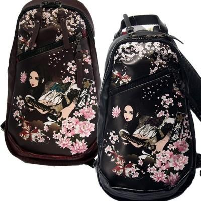 【抜刀娘】 ショルダーバッグ ボディバッグ 凛居合い 和柄 金襴バッグ 金魚 桜 黒 エンジ